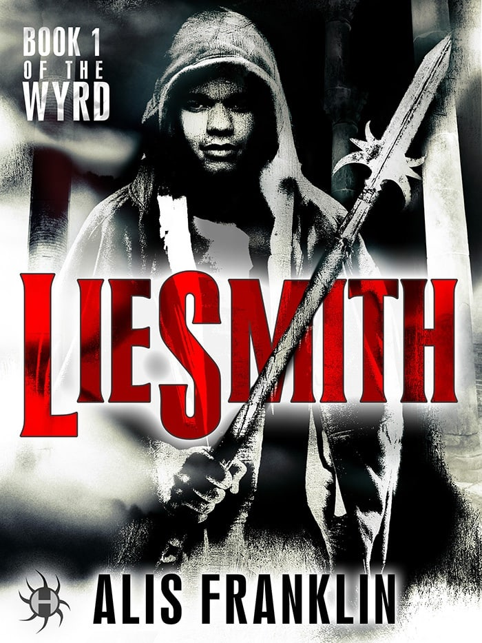 "Black and white photo book cover of a young man in a hoodie, holding a spear. The text ""LIESMITH"" appears at the height of his chest, written in red. The name of the author, Alis Franklin, and the publisher's logo, Hydra, appear at the bottom of the image."