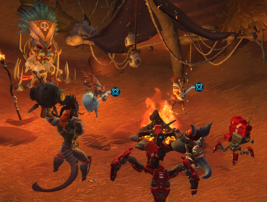 These mobs were dancing. So then I joined in. And the little kangaroo-rat guy and his robots came too.