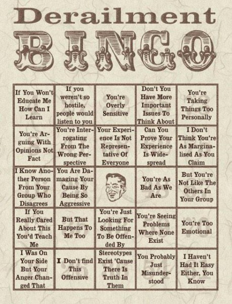 Bingo card to identify derailment in conversations.