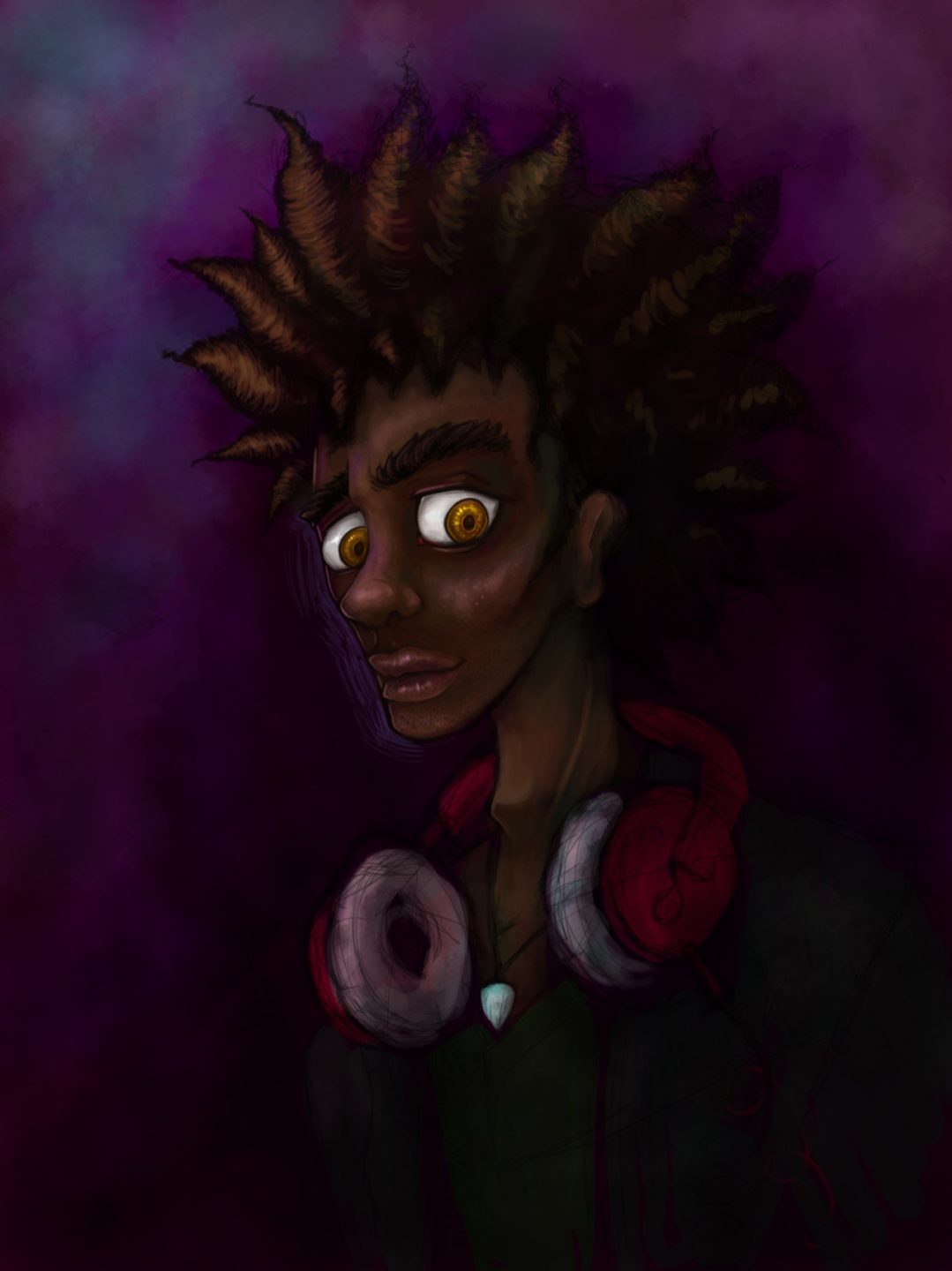 Young African American man with red headphones around his neck. Illustration.
