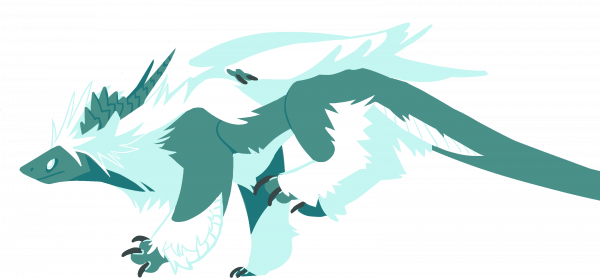 Furred white and teal dragon running.