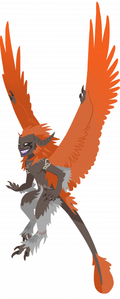 Dark-skinned humanoid with orange wings flying.