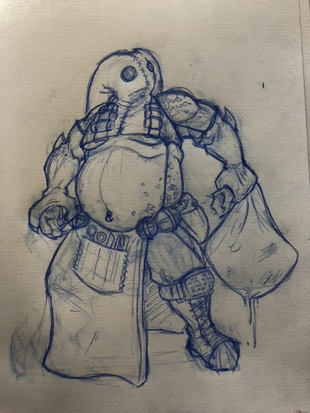 Sketch of a large humanoid wearing a hooded mask, butcher's apron, and carrying a dripping sack.