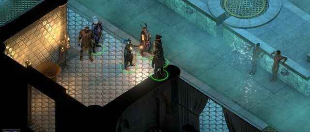 Isometric view of five assorted fantasy adventuring types inside a bathhouse. Game screenshot.