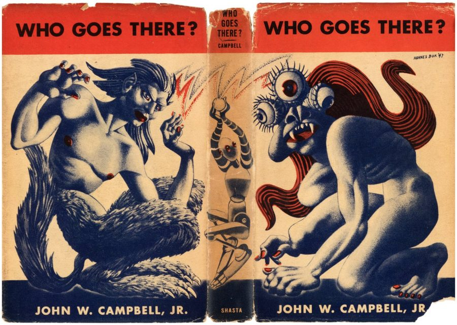 "Vintage book cover for ""Who Goes There?""."