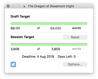 Screenshot of the Scrivener wordcount box, showing a completed 69k draft.