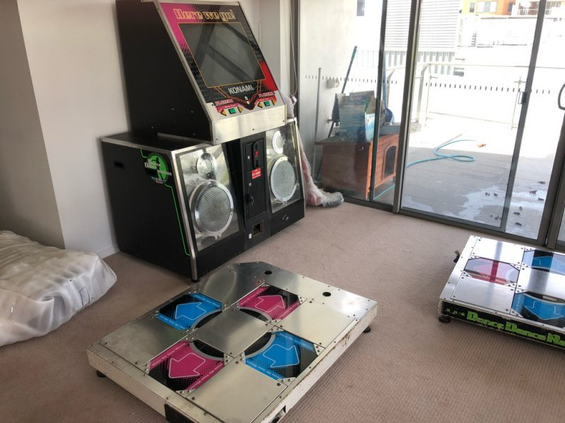It's a disassembled DDR machine. In our apartment.