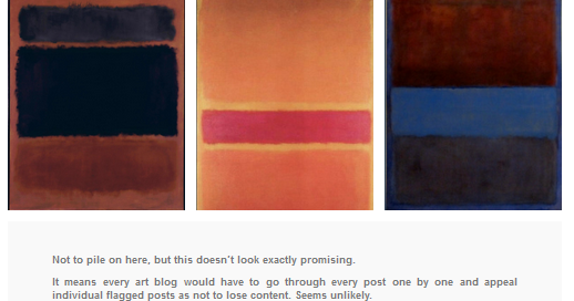 "Abstract paintings of rectangular blocks of color by artist Mark Rothko, flagged by Tumblr as ""inappropriate"". Screenshot."
