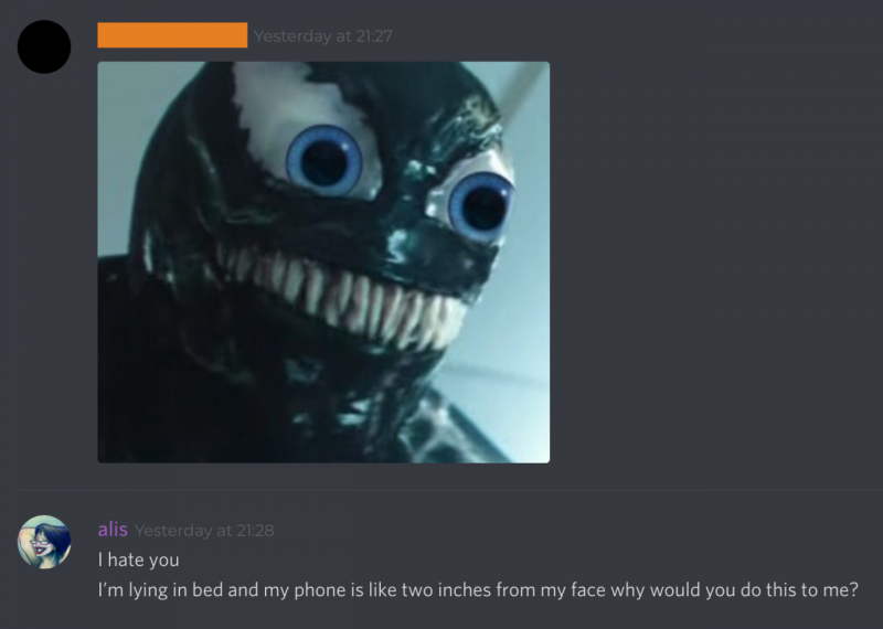 Venom (2018) photoshopped to have large blue eyes, posted to a Discord server with negative reaction by yours truly. Screenshot.