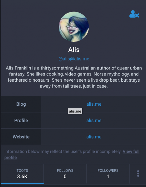 Mastodon interface profile for @alis@alis.me. Screenshot.