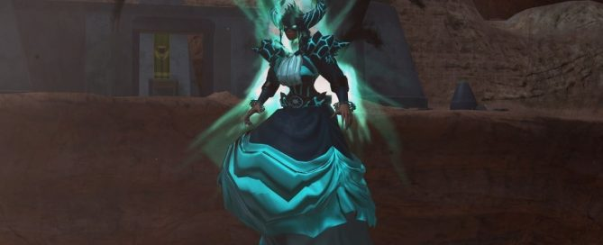 A female videogame character, hovering mid-air with shadowy skeletal wings, dressed in a black and teal Victorian bustle skirt, with huge black horns and glowing rock-like protrustions on her torso, glowing teal.