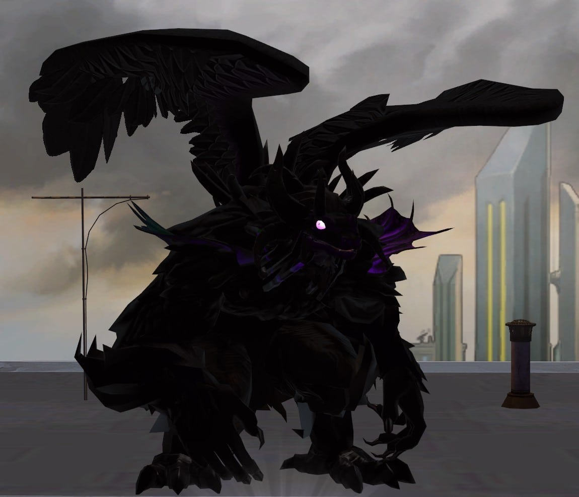 A crouching, bestial anthropormorphic creatures with bird's wings, a snake's head, fins on its shoulders, and large claws. Screenshot (Champions Online).