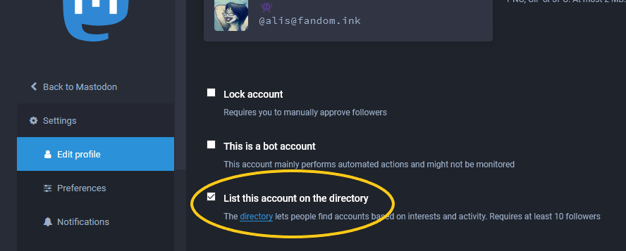 Mastodon edit profile screen with the directory opt-in settin circled.