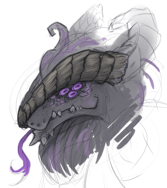 Grey serpentine/draconic demon bust, from the side, showing three magenta eyes. Sketch.
