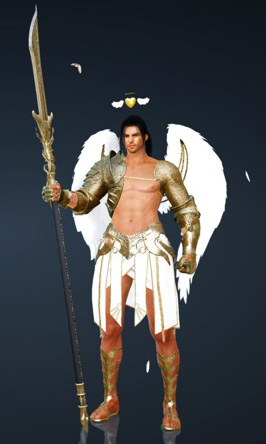 Japanese-looking man with a large polearm, dressed in a revealing Cupid costume.