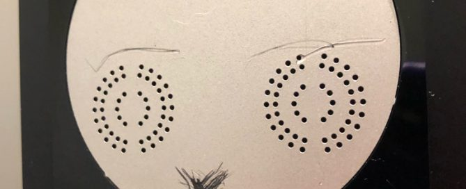 Speakers from an elevator console with eyebrows, a nose, and a mouth added to make them look like the eyes of a face.