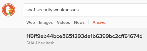 "DuckDuckGo search results for ""sha1 security weaknesses"" showing the first result is the SHA-1 hash of the string ""security weaknesses""."