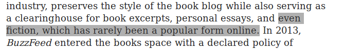 "Excerpt from the linked article, with text claiming fiction has ""never been popular online"" highlighted."