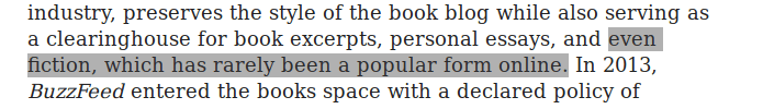 """Excerpt from the linked article, with text claiming fiction has """"never been popular online"""" highlighted."""