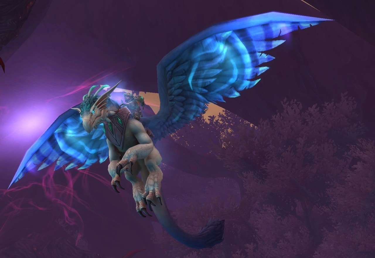 Feathered dragon mount from WORLD OF WARCRAFT.