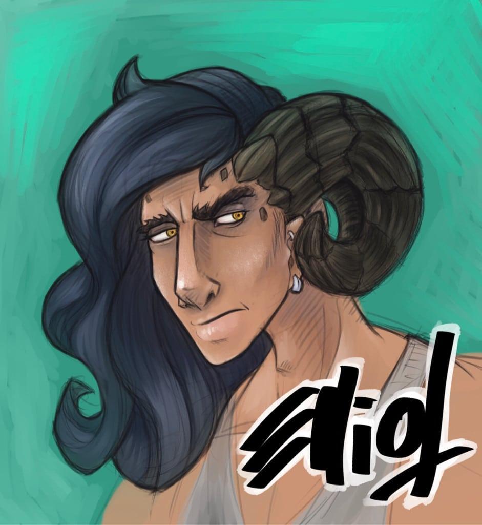 CArtoon bust of a scowling dude with ram horns and Skrillex hair.