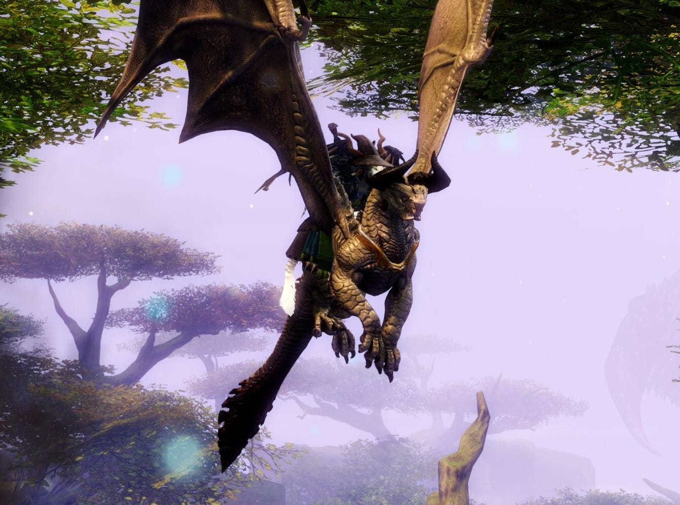 A player character from the video game GUILD WARS 2 lyng a Skyscale, a kind of bull-headed dragon.