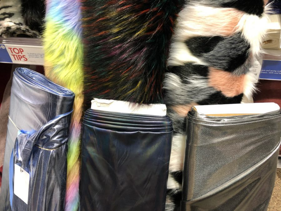 A selection of rainbow furs and silver lames.