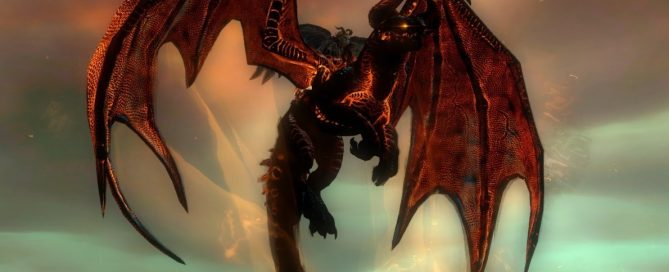 Character on a black and iridescent red dragon mount in GUILD WARS 2.