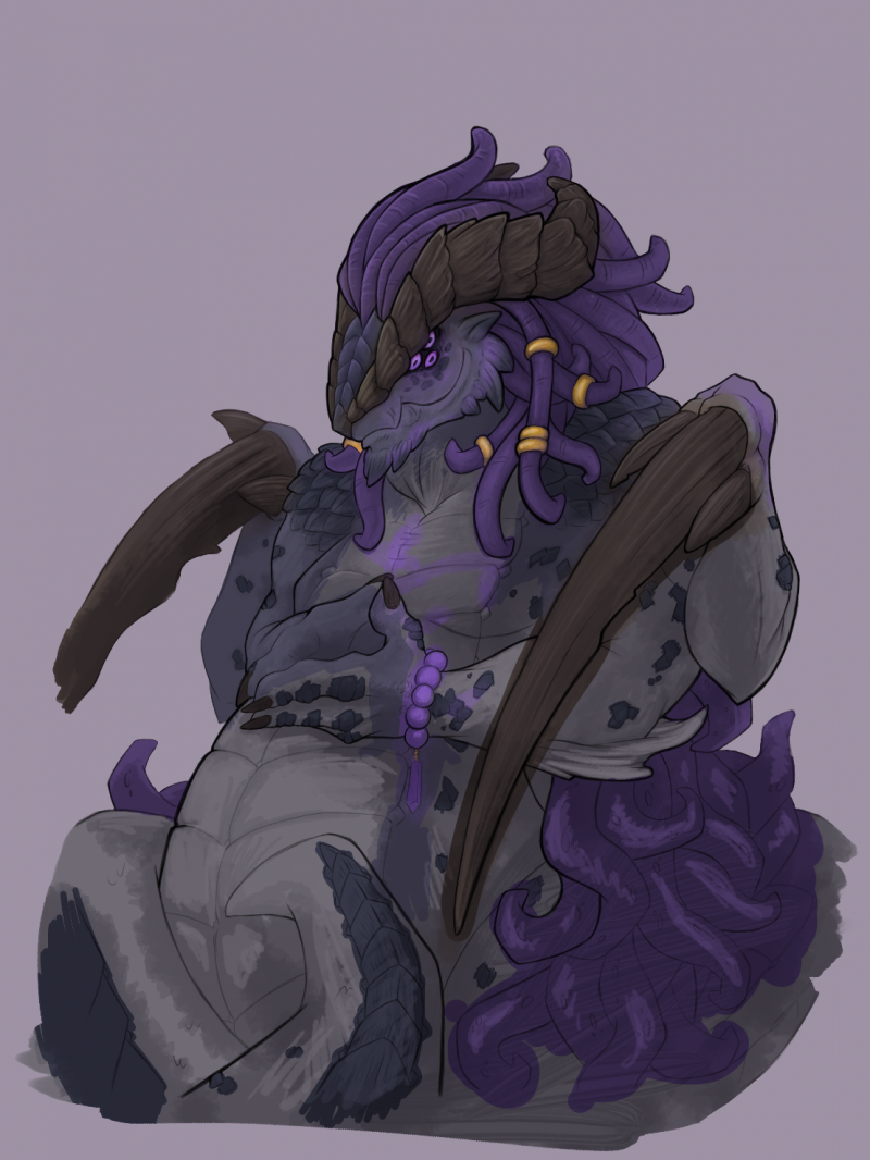 Purple and grey snake demon thing.