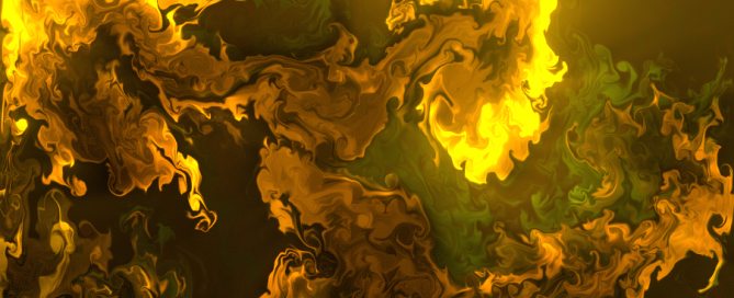 "Orange-yellow glowing ""fluid"" being dispersed into darkness."