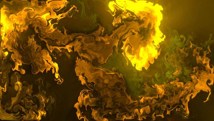 "Orange-yellow glowing ""fluid"" being dispersed into darkness."