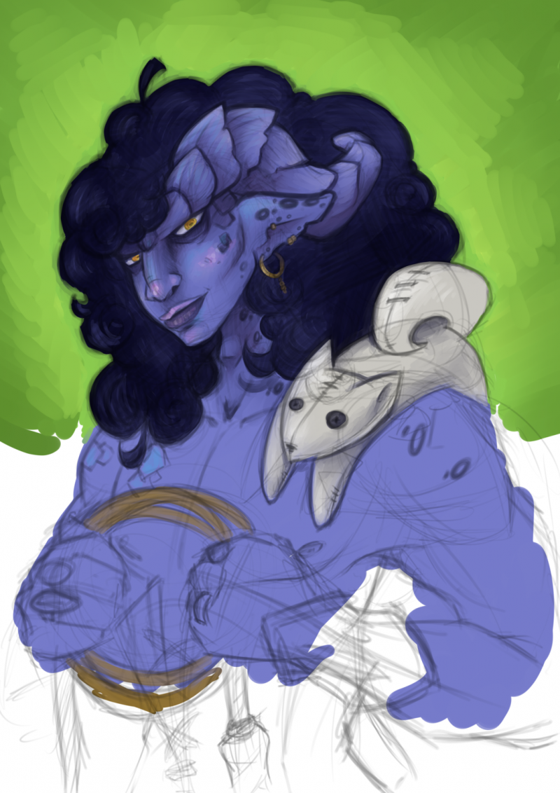 Bust sketch of a purple tiefling with a plush toy draped over its shoulder.