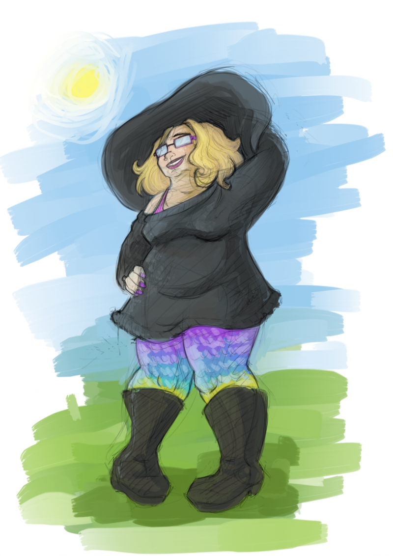 Colored sketch of a goth in rainbow leggings and a big hat in the sun.