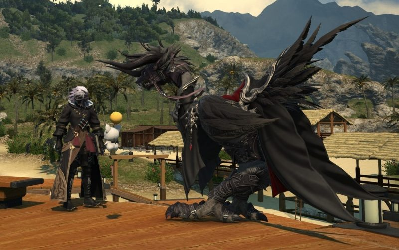 Player character in FINAL FANTASY XIV looking at their grey chocobo, dressed up like the mosnter Behemoth.
