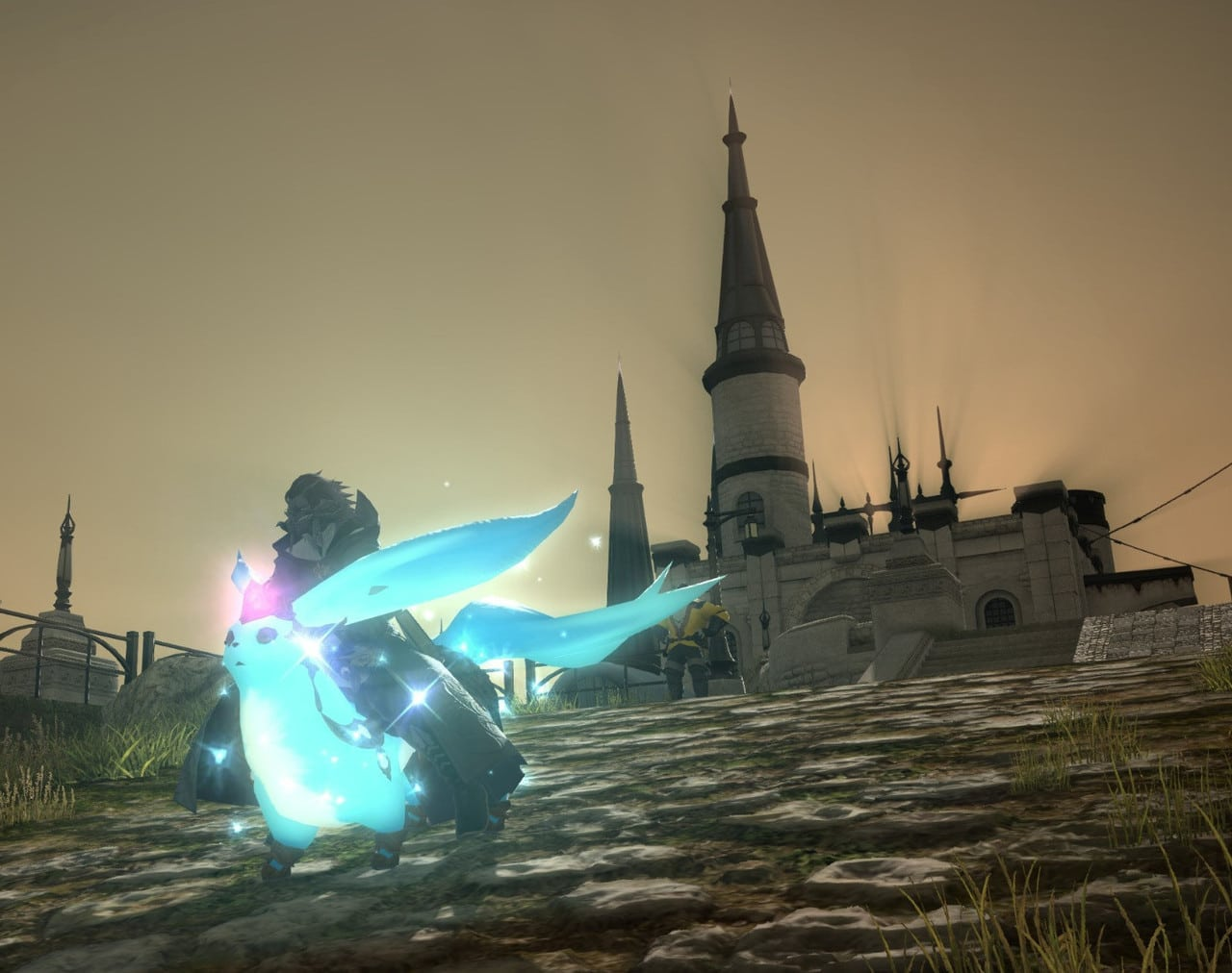 FINAL FANTASY XIV character on a glowing blue mouse/fox creature, with a castle in the background.