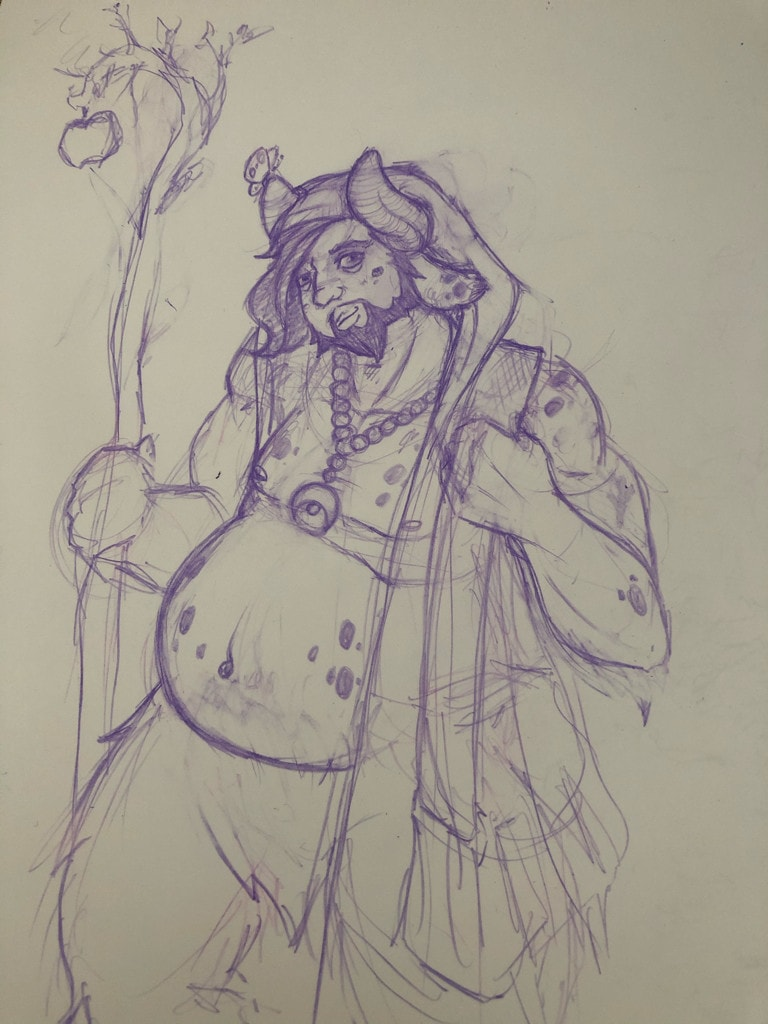 Sketch of a big-bellied horned guy holding a staff.