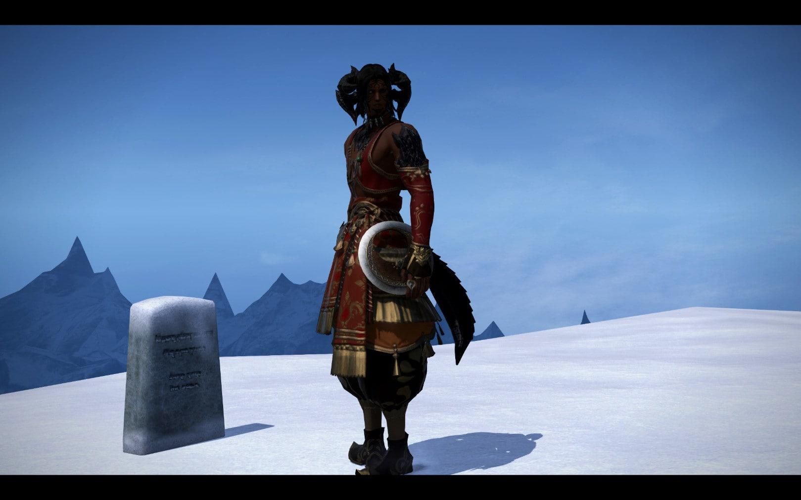 An underdressed FFXIV protagonist standing next to a grave marker in the snow.