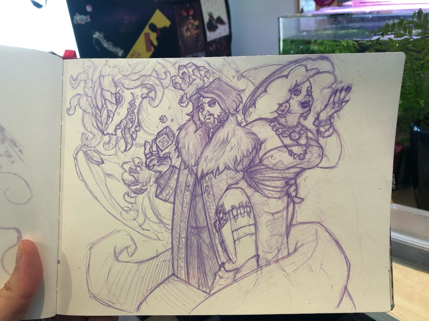 Sketch of a demon, a surly warlock, and an 80s MILF witch.