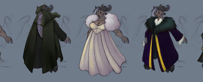 Five different outfits for a large hoofed and horned tiefling: dancer's silks, ranger cape, ballgown, lord's coat, and pirate.