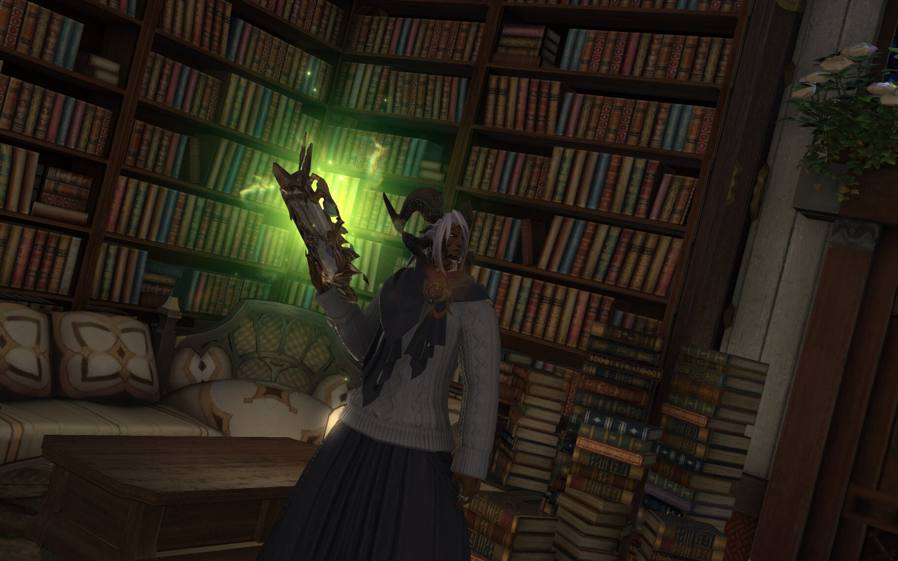 Horned character from FINAL FANTASY XIV wearing a pleated skirt and a sweater with an oversized scarf, holding a glowing book in front of bookshelves.